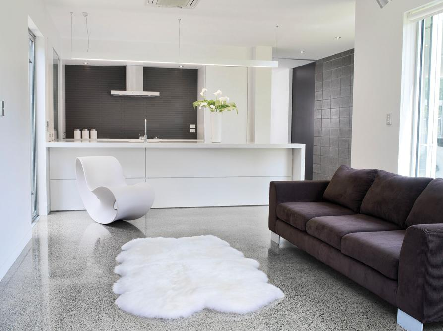 ivory faux sheepskin in a modern minimalist room