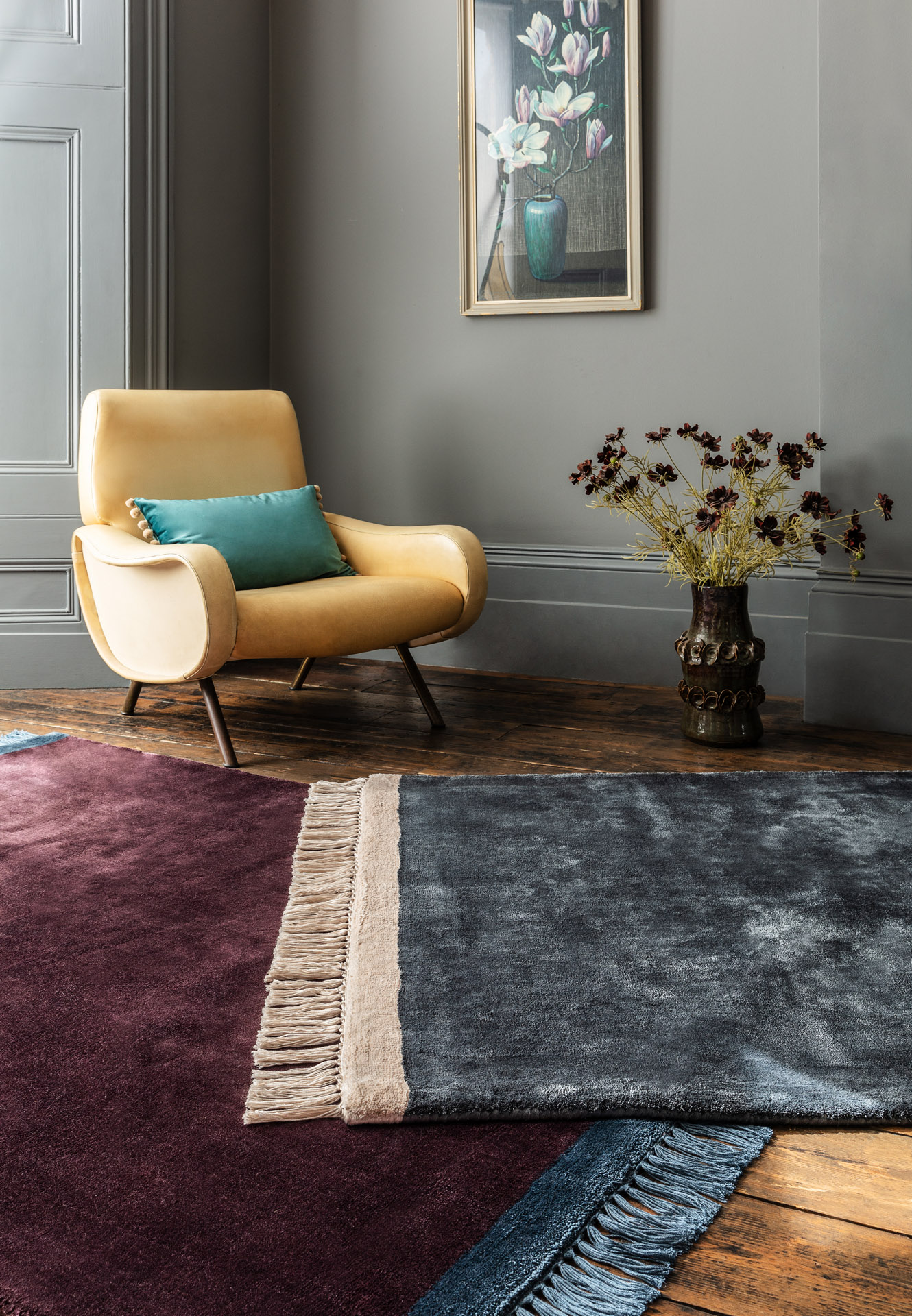 Elgin Rugs (Purple and Blue) overlapping in a room setting