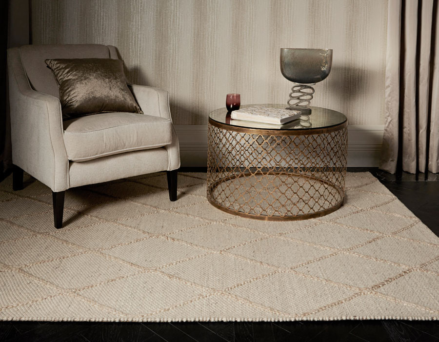 Katherine Carnaby Coast DIamond Cream Rug under armchair and coffee table