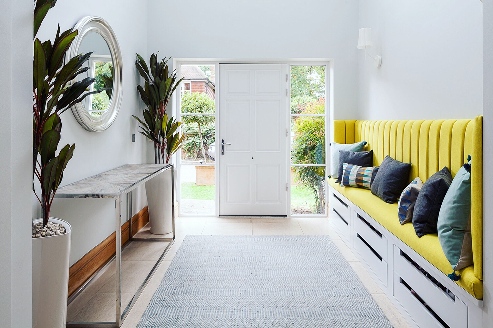 Duck Egg Blue Sloan Rug in a bright, modern hall design by Furnished by Anna