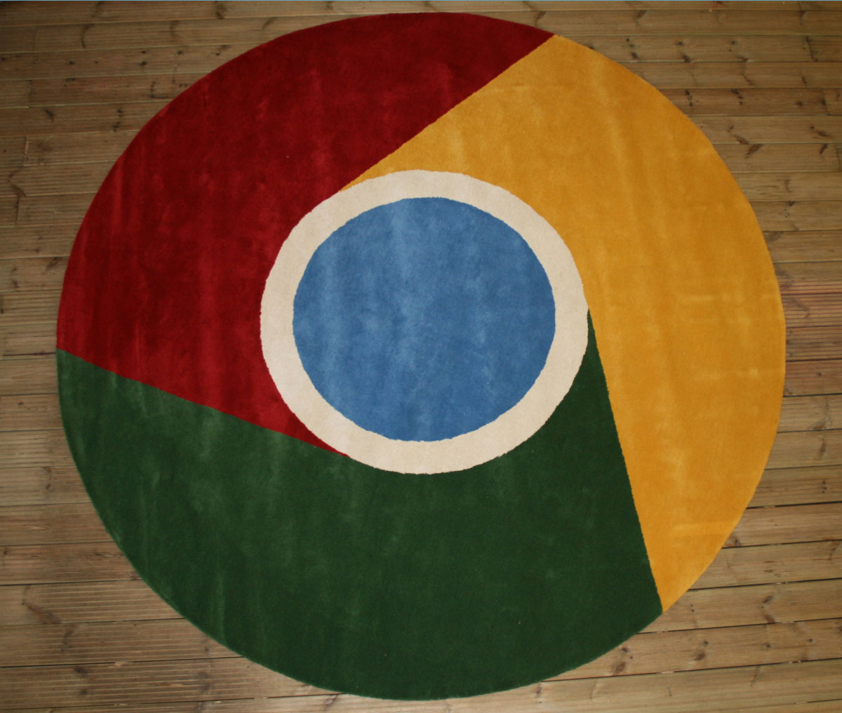 Finished Google Custom Logo Rug on Floor