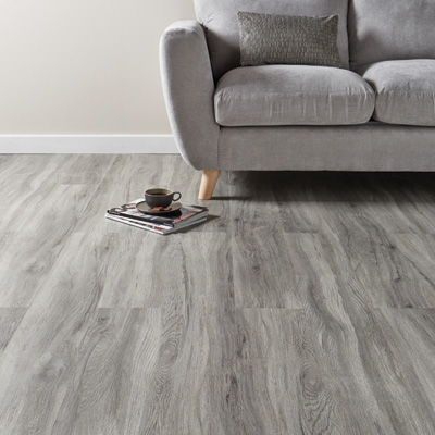 Lifestyle Floors Galleria Silver Oak in room with sofa