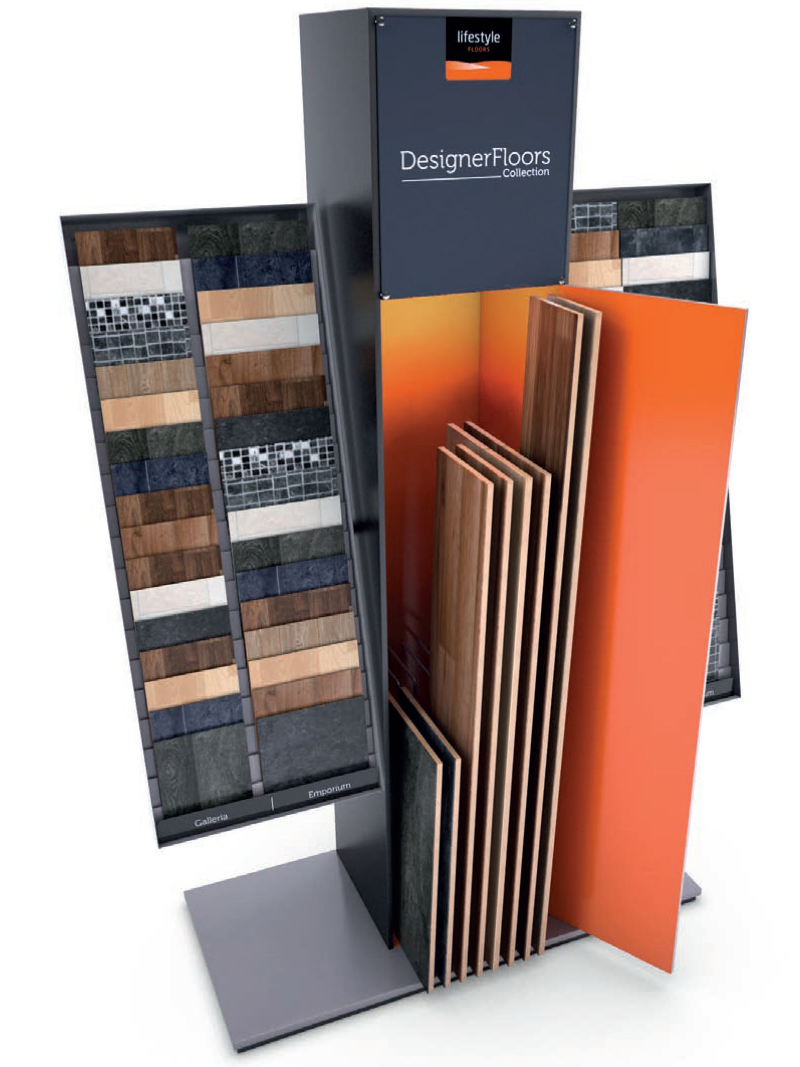 Lifestyle Floors luxury vinyl tile display stand angled and open