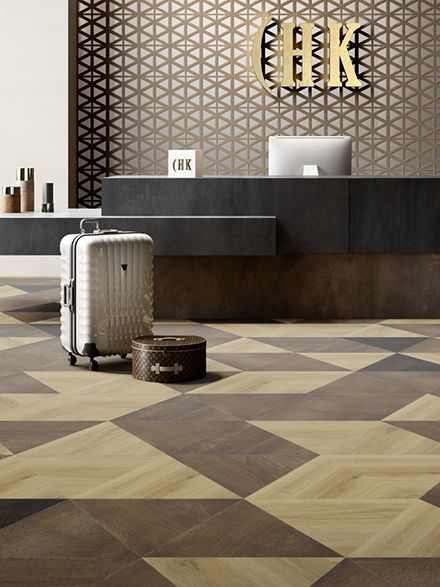 Moduleo Moods Triangles LVT flooring in hotel lobby reception