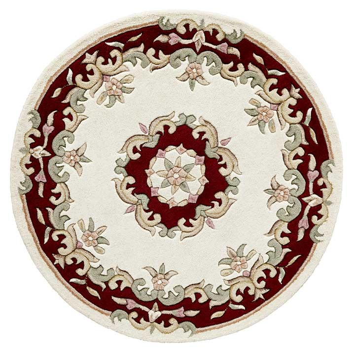Delightful Royal Cream Red Circle Rug