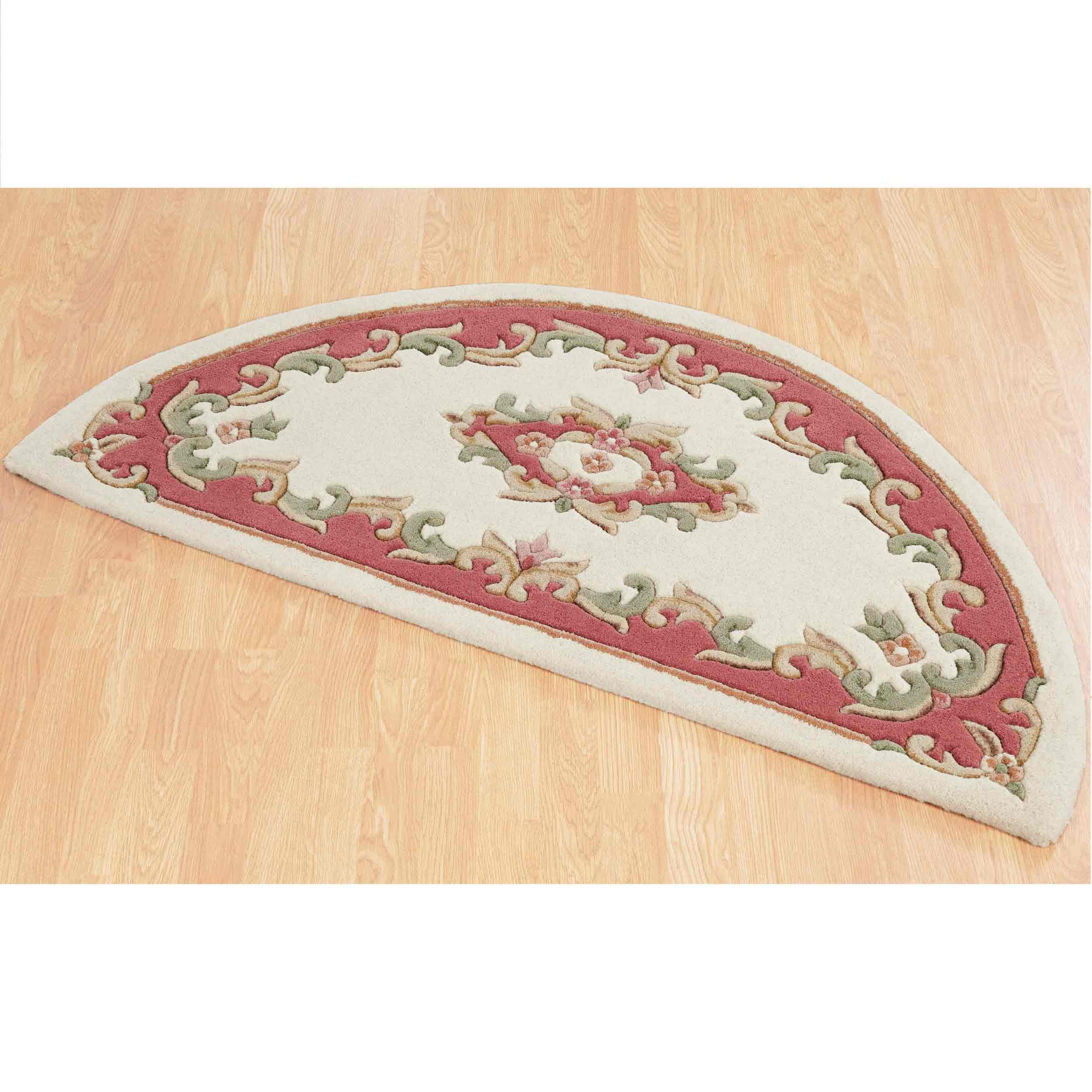 Royal Cream Rose Half Moon Rug