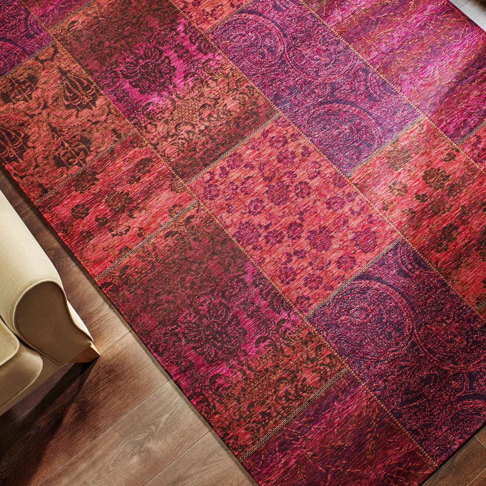 Manhattan Patchwork Chenille Purple Rug