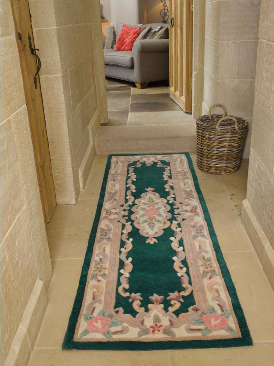Lotus Premium Aubusson Green Runner Rug
