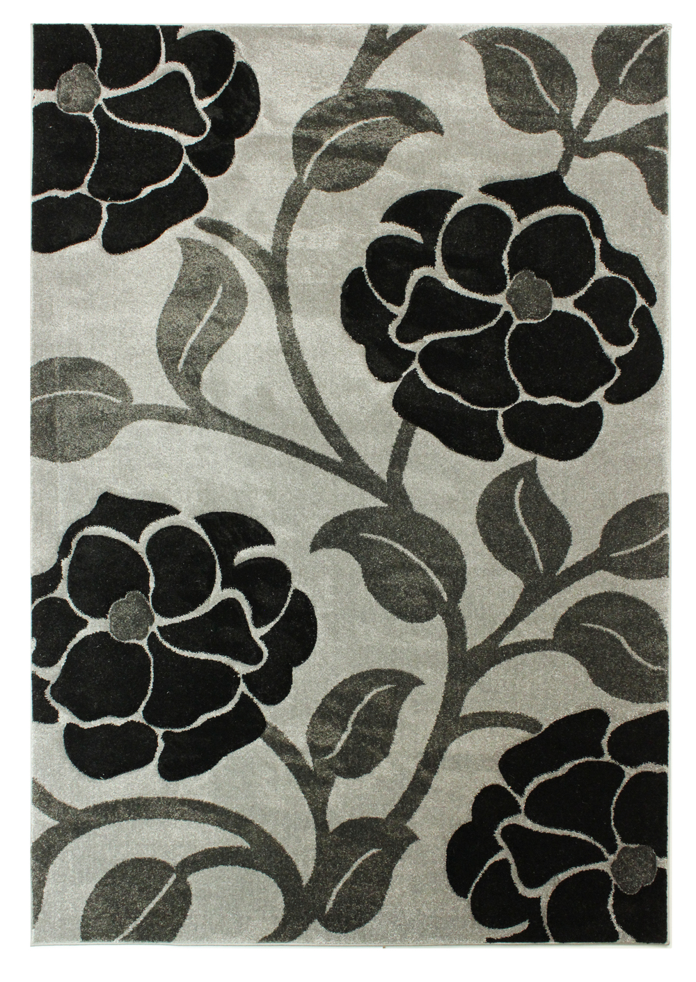 Hand Carved Vine - Grey Black Rug