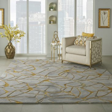 Nourison Symmetry  SMM05 Grey Yellow
