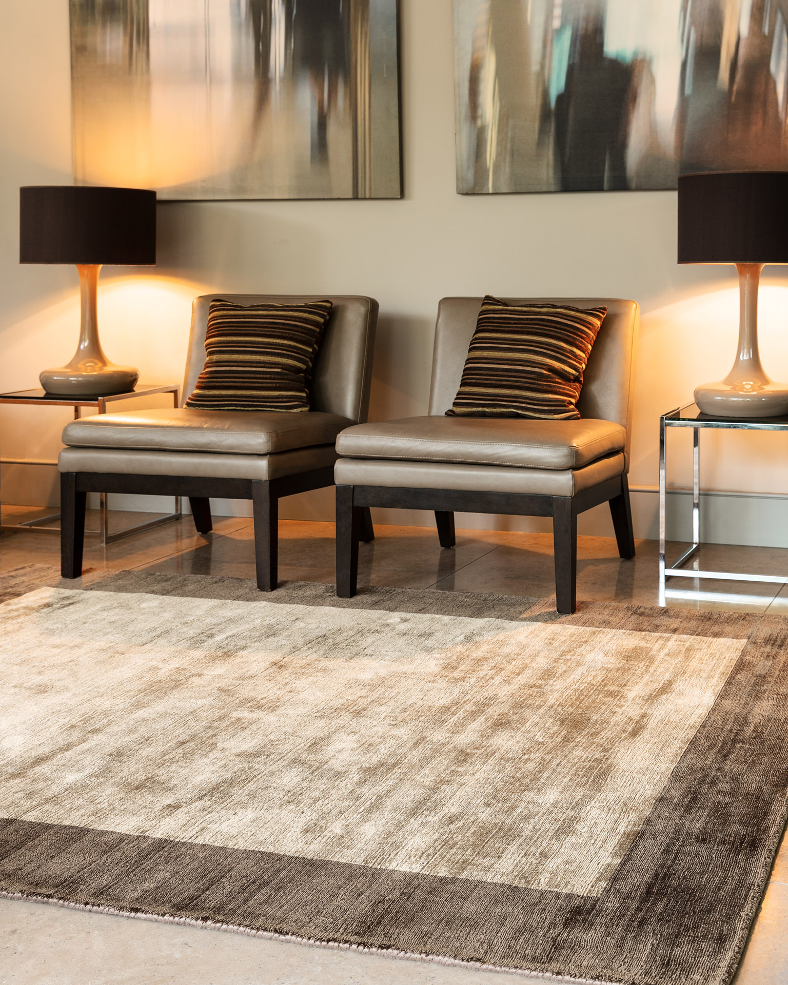 Blade Border Chocolate Mocha Square Rug in room with chairs