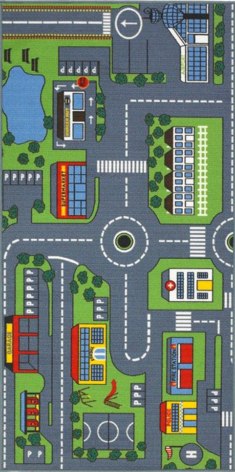 Kids Playtime Large Road Map Rug