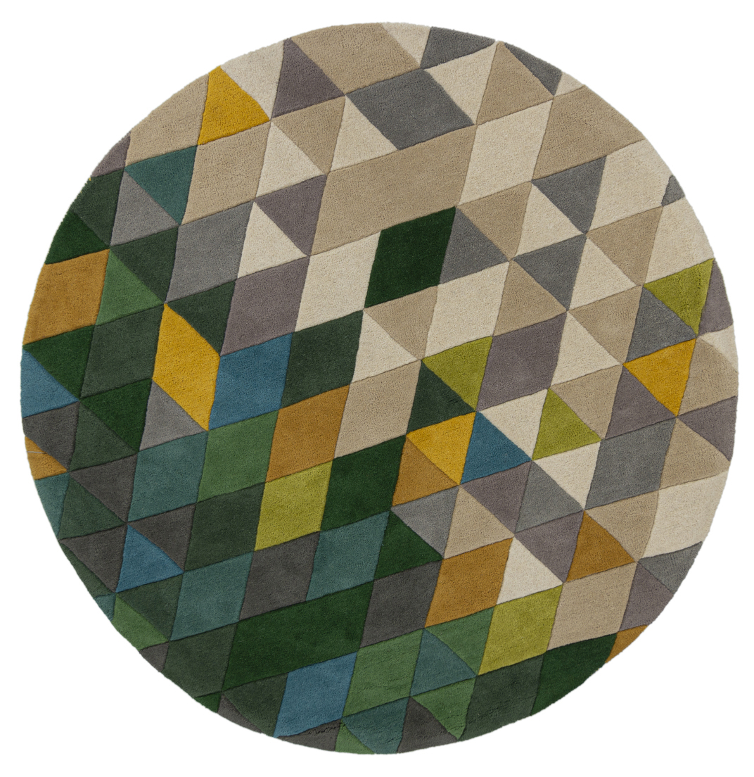 Illusion Prism Green Multi Circular Rug