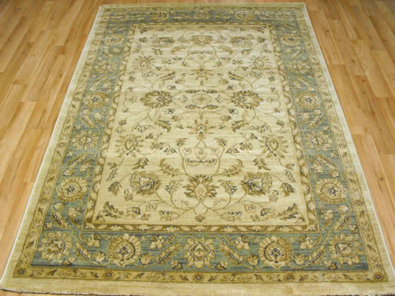 Ziegler 7709 cream green rug for Green and cream rugs